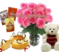 Rose in Vase with combo pack collection
