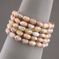 5 Row 8-9mm Fresh Water Pink Pearl Bracelet