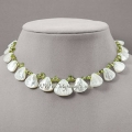 14K 5.35 cttw. Mother of Pearl & Peridot Necklace