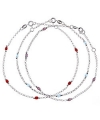 Sterling Silver Multicolor Bead Anklet
