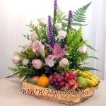 Pink Lily And Roses With Fruits