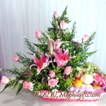 Pink Roses & Lily Mixed With Fruits
