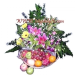 Pink Lily & Fruits Basket Arrangement