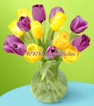Lavender and Yellow Tulip in a vase
