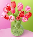 Mixed Pink Tulip in Vase