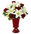 Red rose with White Lilies