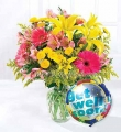 Get Well Balloon and Flower Bouquet